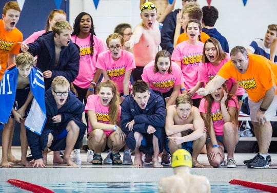 Delta fans cheer on Forrest Arnold in the breaststroke at Jay County High School Saturday, Feb. 16, 2019.