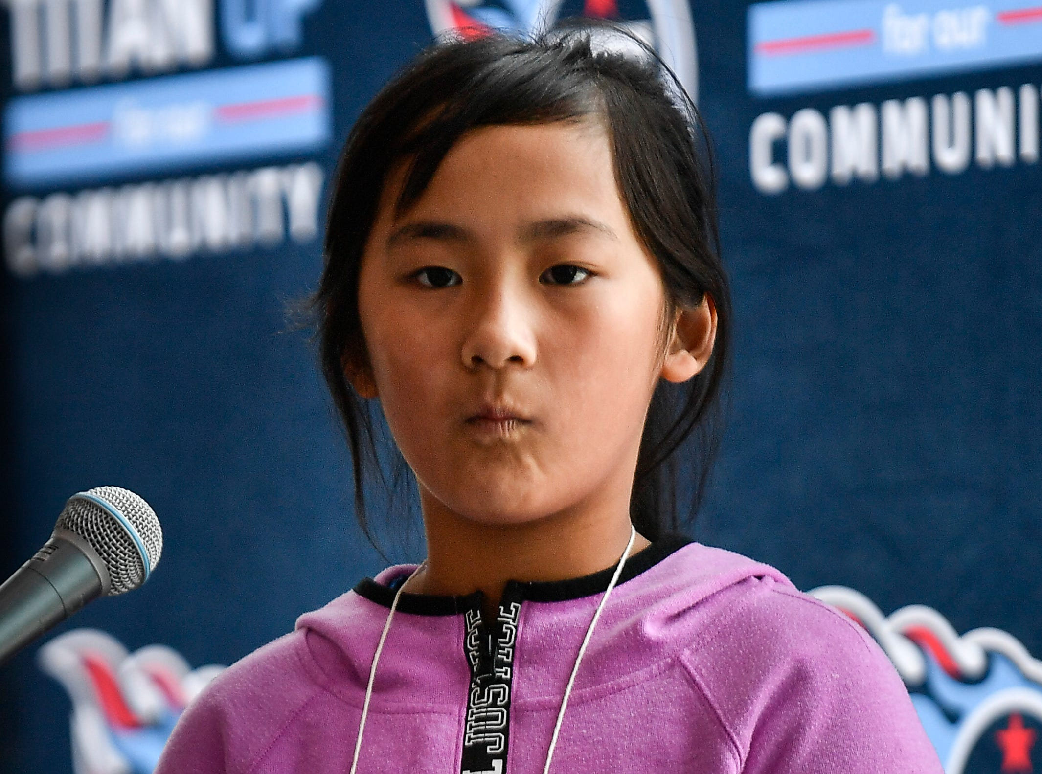 Natalie Chou competes in the Tennessee Titans Regional Spelling Bee at Nissan Stadium Saturday, Feb. 16, 2019 in Nashville, Tenn.