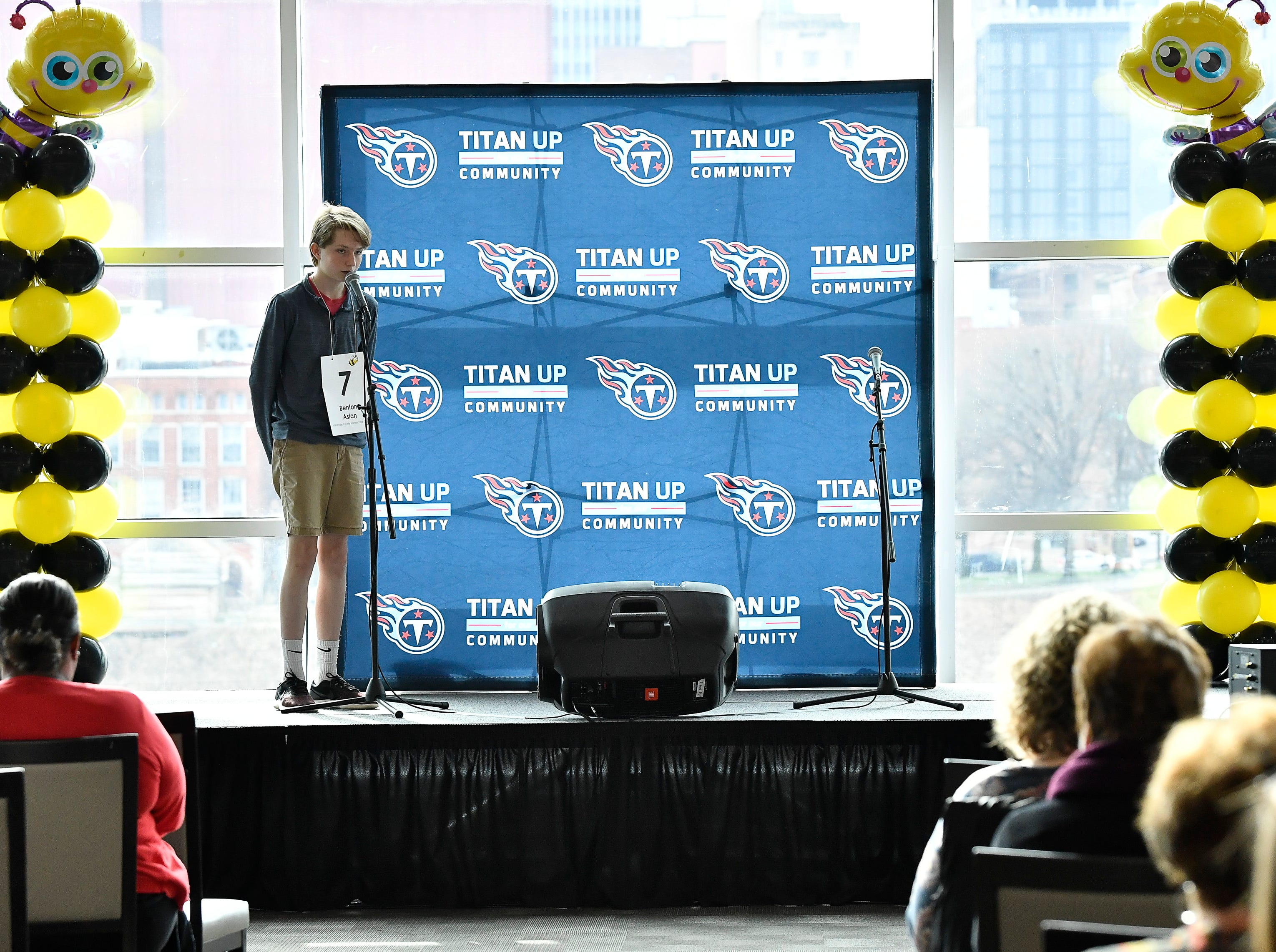 Benton Aslan competes in the Tennessee Titans Regional Spelling Bee at Nissan Stadium Saturday, Feb. 16, 2019 in Nashville, Tenn.