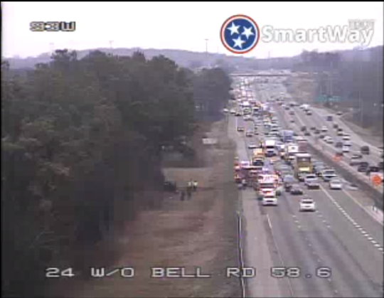 Interstate 24 westbound near exit 59 at Bell Road backed up Saturday afternoon after a crash.