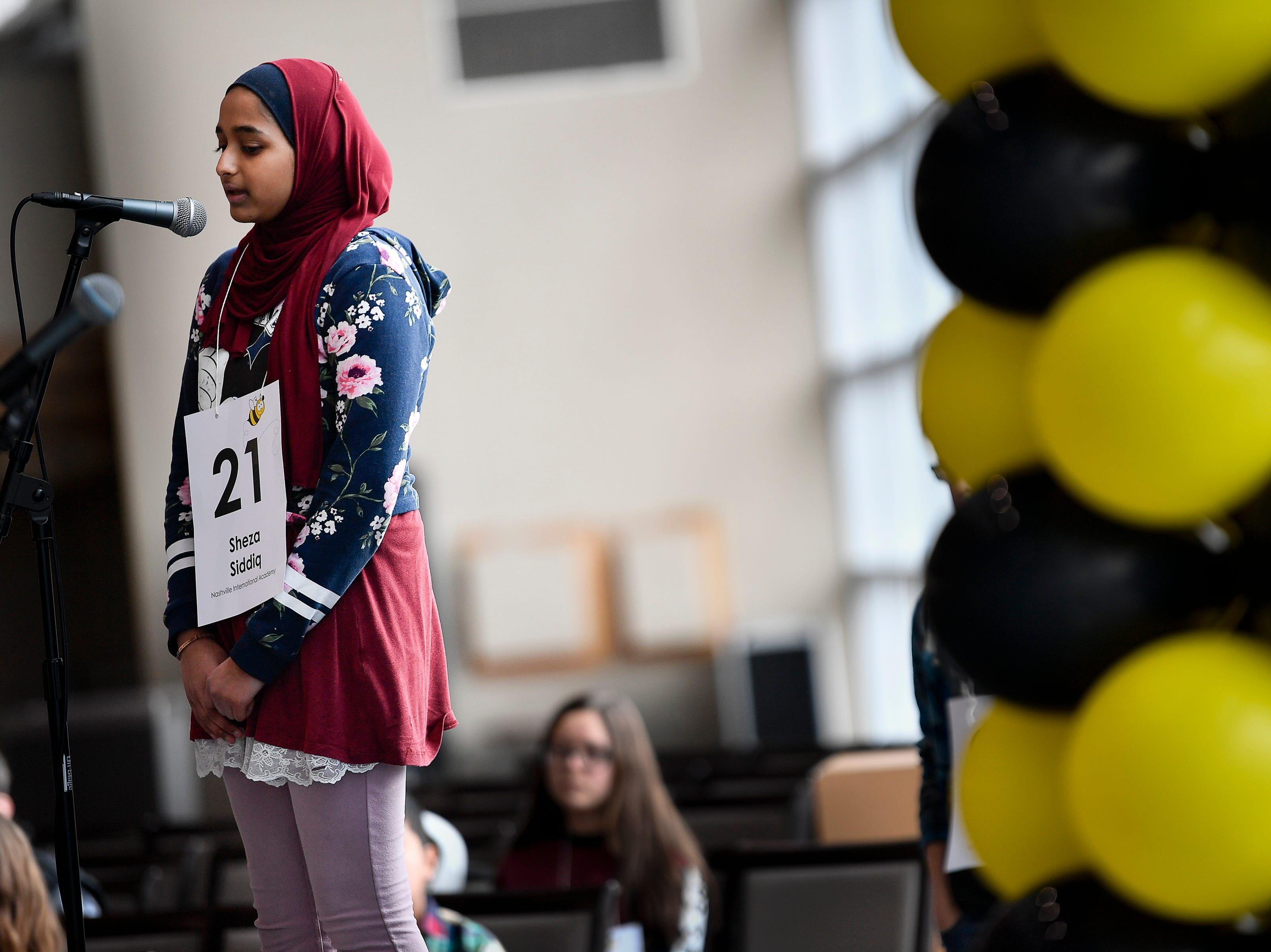 Sheza Shiddiq competes in the Tennessee Titans Regional Spelling Bee at Nissan Stadium Saturday, Feb. 16, 2019 in Nashville, Tenn.