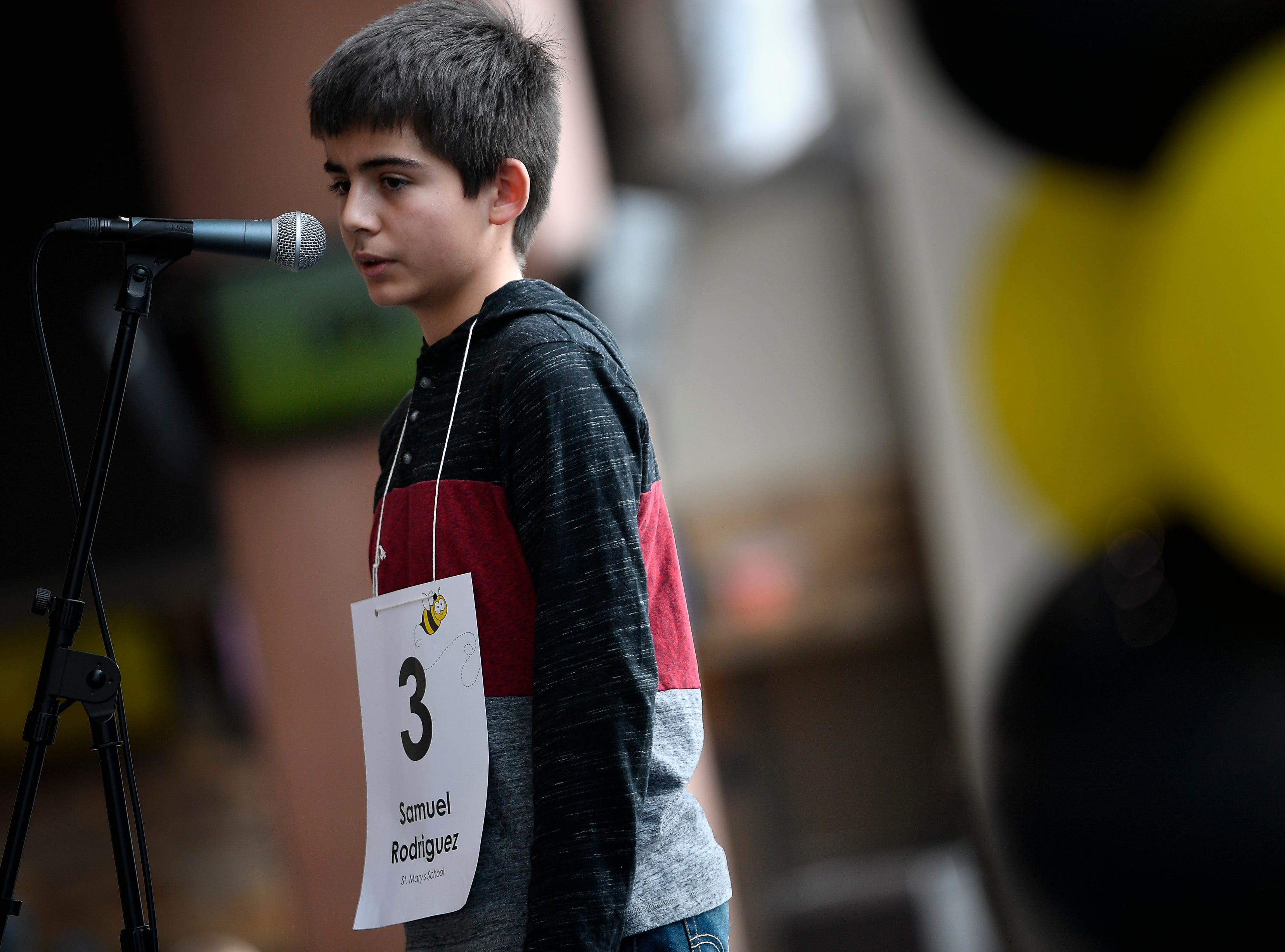 Samuel Rodriguez competes in the Tennessee Titans Regional Spelling Bee at Nissan Stadium Saturday, Feb. 16, 2019 in Nashville, Tenn.