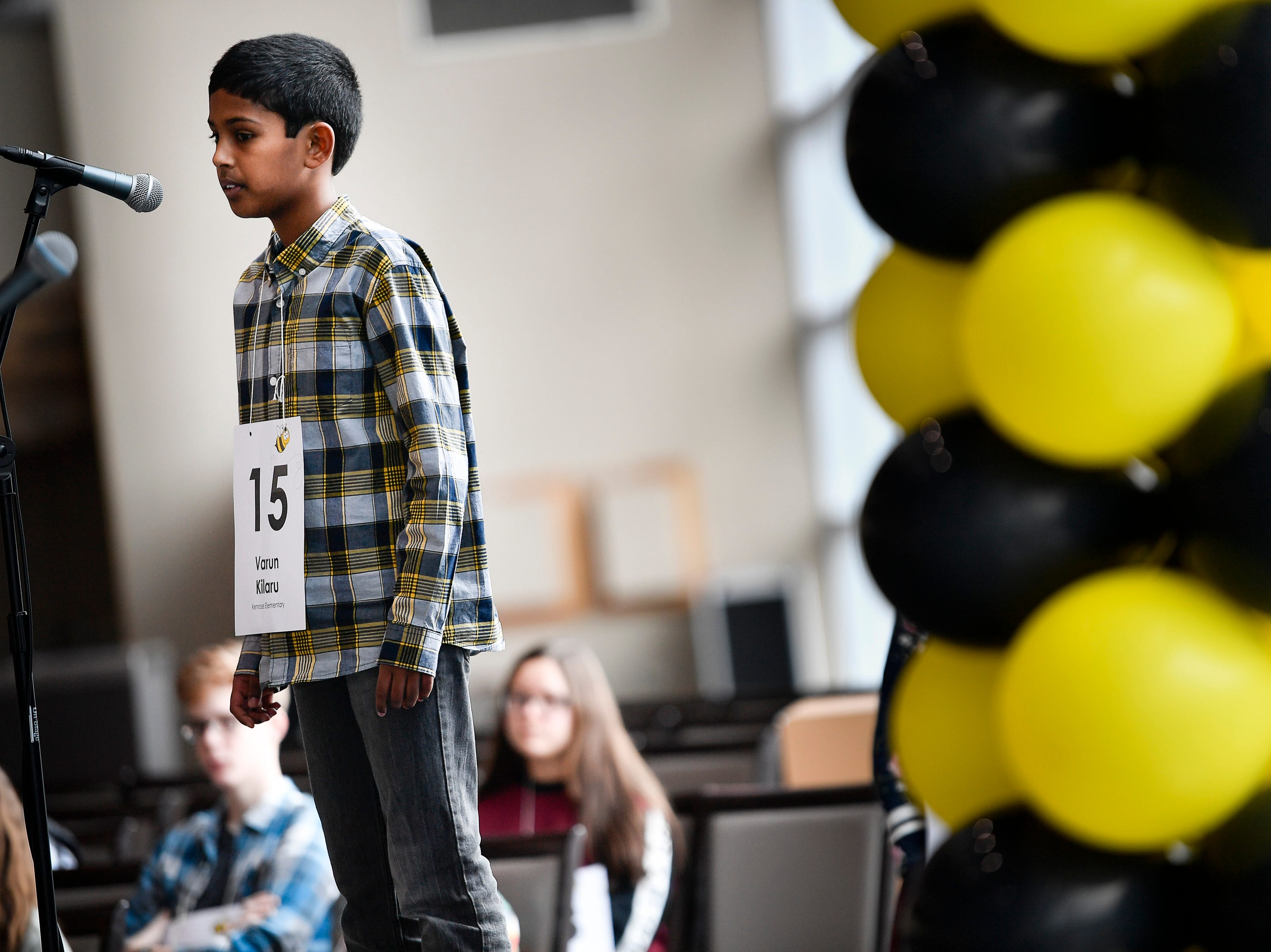 Varun Kilaru competes in the Tennessee Titans Regional Spelling Bee at Nissan Stadium Saturday, Feb. 16, 2019 in Nashville, Tenn.