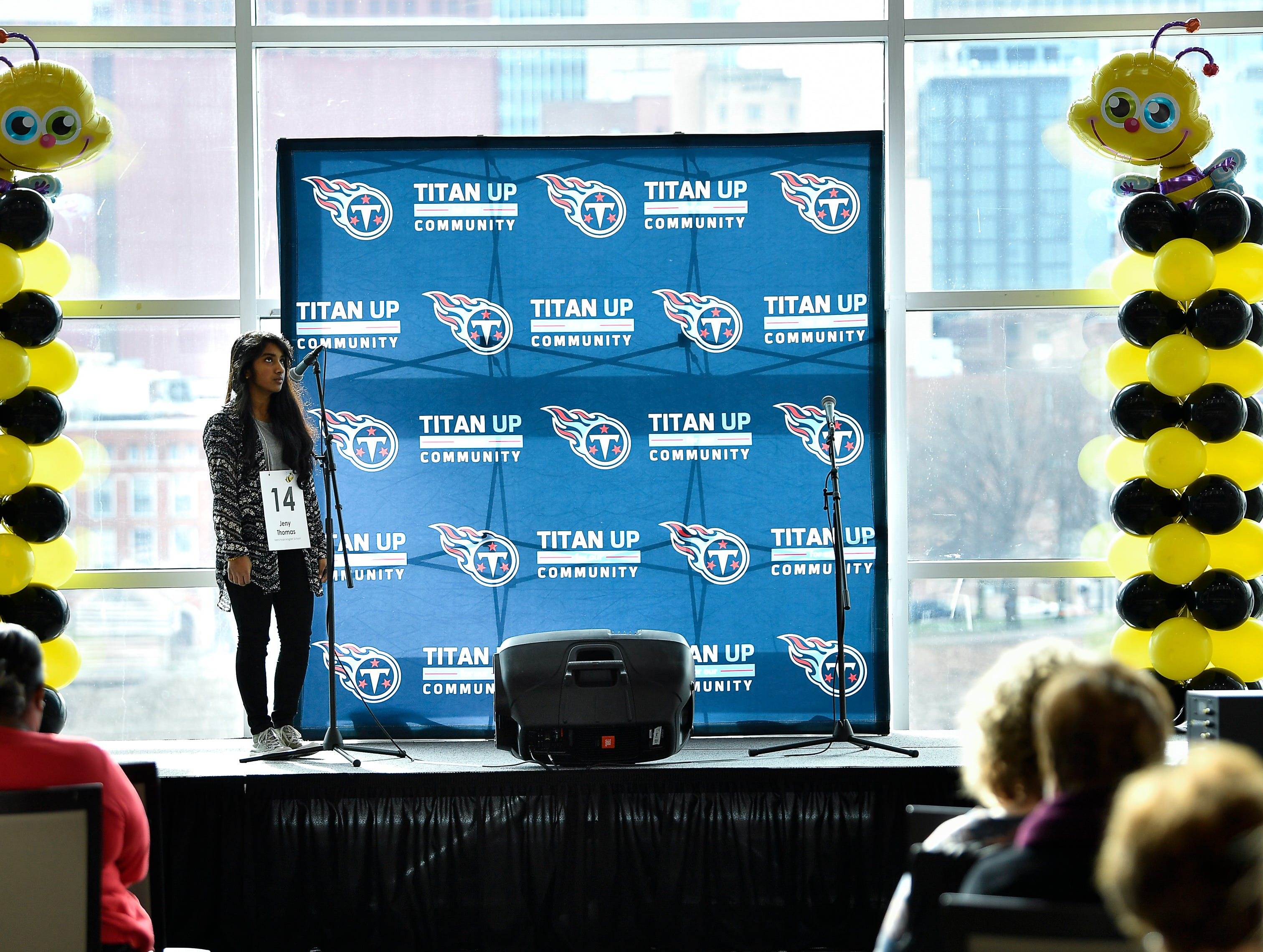 Jeny Thomas competes in the Tennessee Titans Regional Spelling Bee at Nissan Stadium Saturday, Feb. 16, 2019 in Nashville, Tenn.