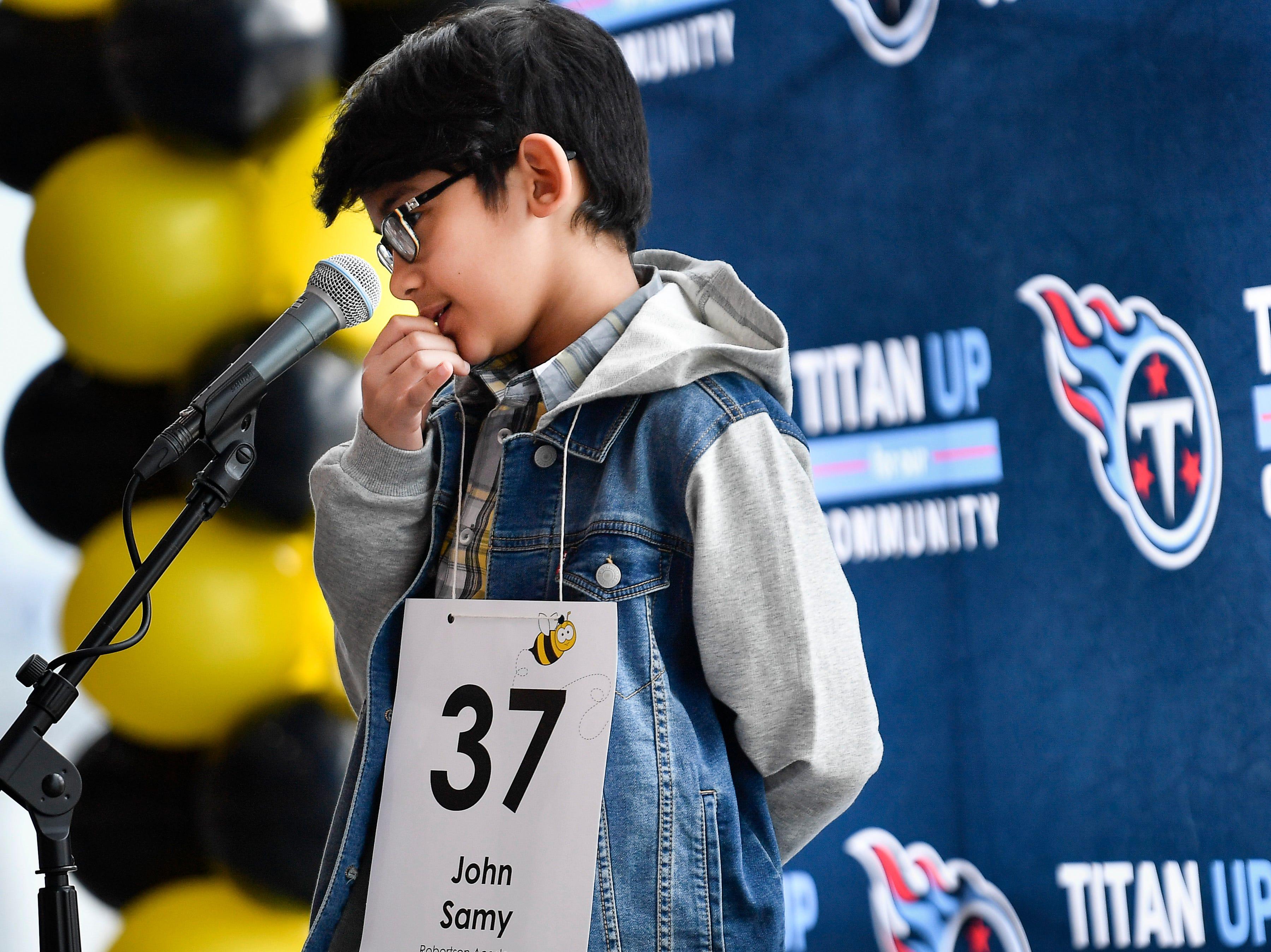 John Samy competes in the Tennessee Titans Regional Spelling Bee at Nissan Stadium Saturday, Feb. 16, 2019 in Nashville, Tenn.