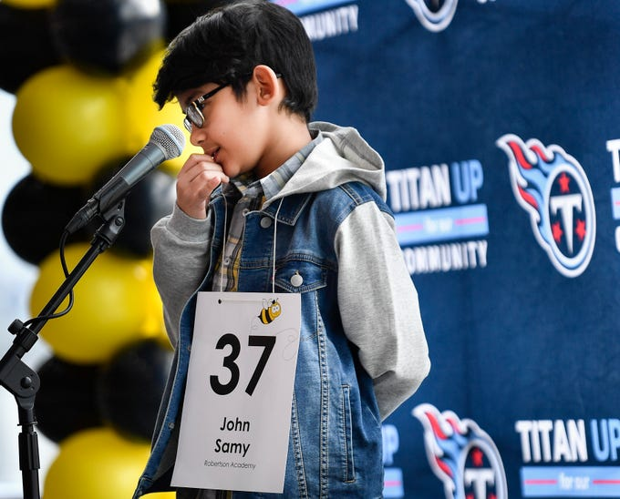 John Samy competes in the Tennessee Titans Regional Spelling Bee at Nissan Stadium Saturday, Feb. 16, 2019 in Nashville, Tenn.