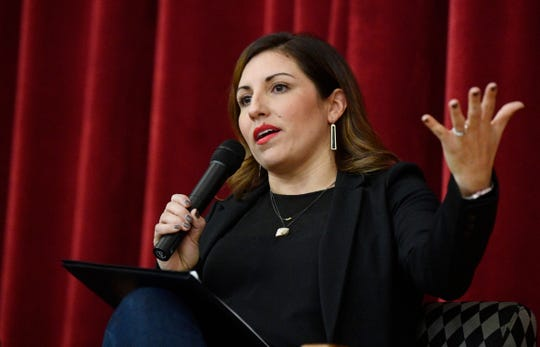 "Seattle council member Teresa Mosqueda speaks at the Stand Up Nashville event ""Tipping Point: Amazon and the Future of Nashville"" on Feb. 15, 2019, at East Nashville Magnet School."