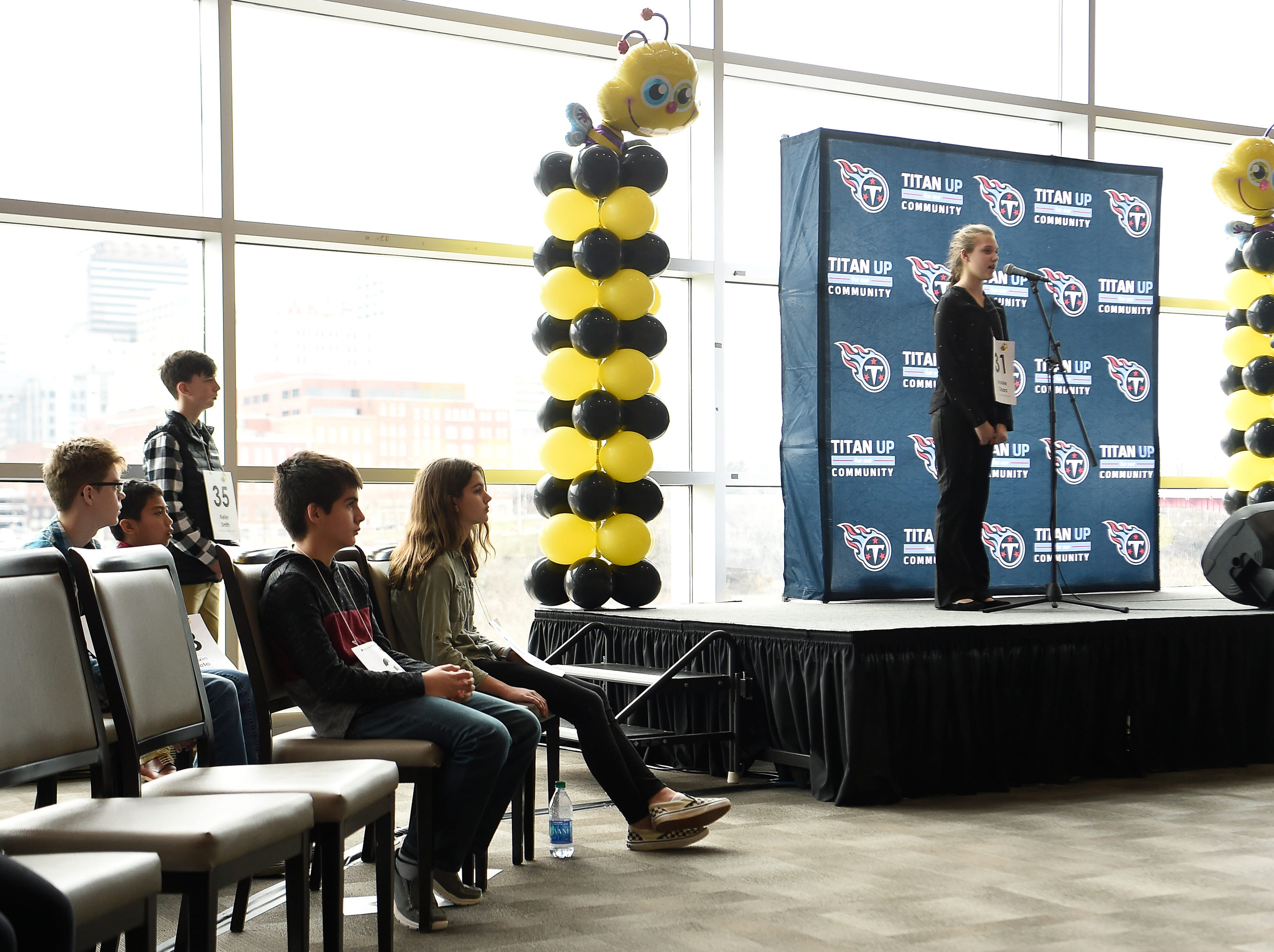 Brooke Obara competes in the Tennessee Titans Regional Spelling Bee at Nissan Stadium Saturday, Feb. 16, 2019 in Nashville, Tenn.