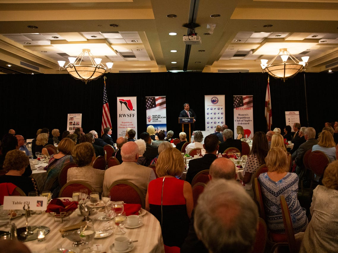 Former governor Chris Christie gives his keynote speech at the annual Collier County Lincoln Reagan Celebration at the Hilton Naples on February 15, 2019.