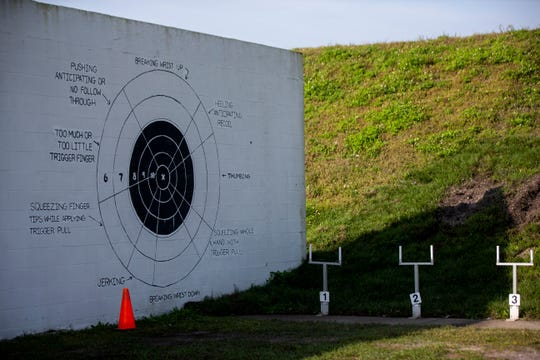 A target diagram painted on the wall shows the possible issues that could be affecting a shooter's aim at the Collier County Sheriff's Office's gun range in Golden Gate Estates, on Saturday, Feb. 16, 2019.