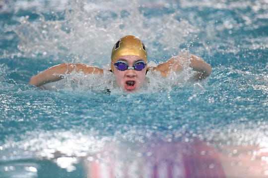 North 1, Group B championship for girls swimming: Northern Highlands vs. Wayne Valley at Passaic County Technical Institute on Friday, February 15, 2019. Kathryn Horkan, of Northern Highlands, in the 100 Fly.