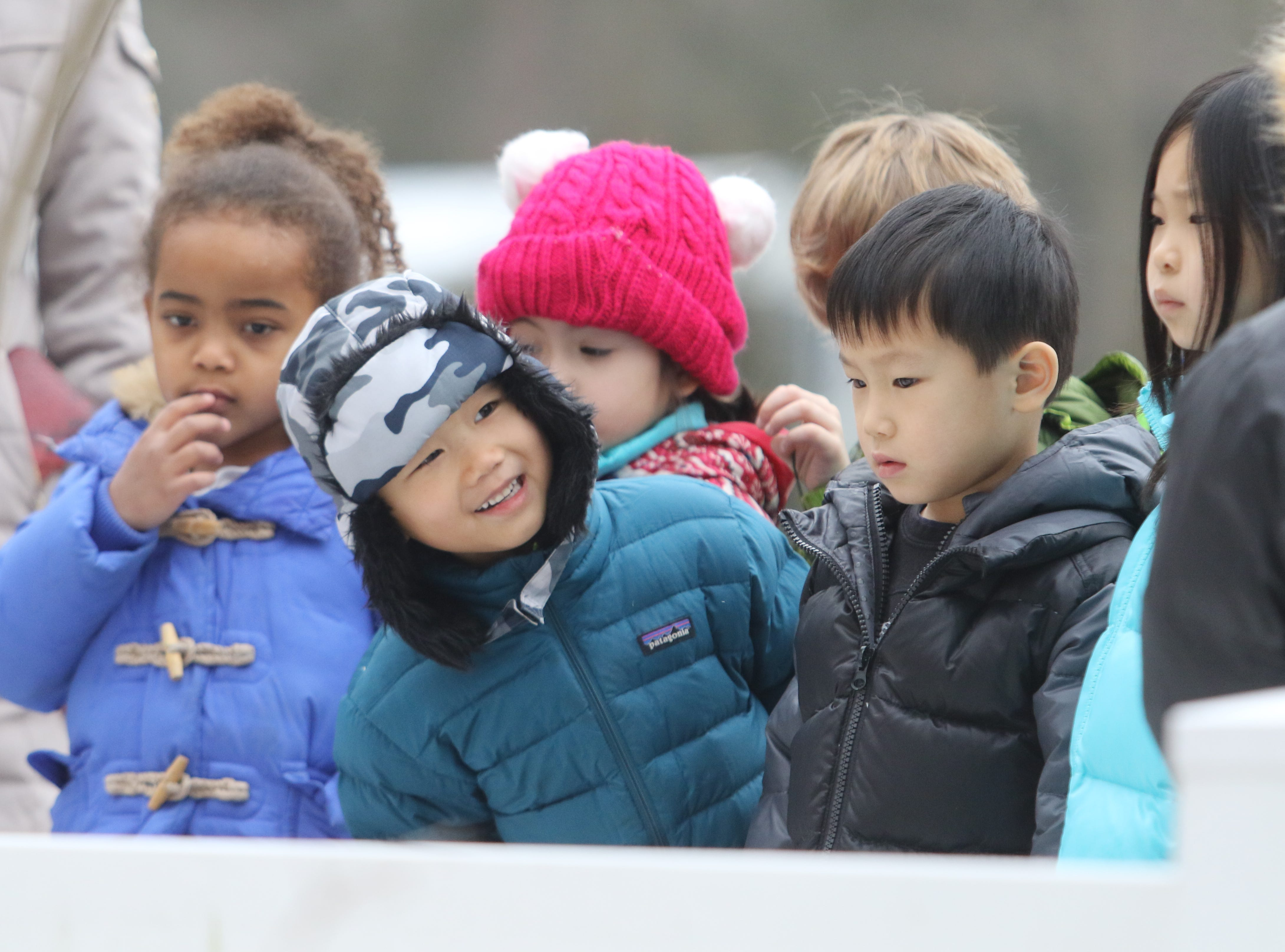 "Kids line up for the nature walk on February 15, 2019. Ridgewood Parks and Recreation, in partnership with HealthBarn USA, celebrated ""Winterfest"", a day for kids baking cookies, doing yoga and taking a nature walk."