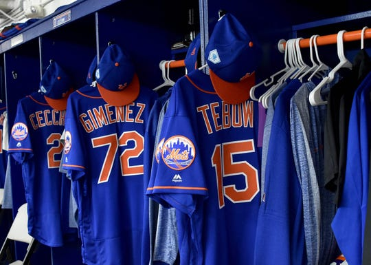 Feb 15, 2019; Port St. Lucie, FL, USA; A detail view of the jersey of New York Mets outfielder Tim Tebow in the Mets locker room during spring training at First Data Field.