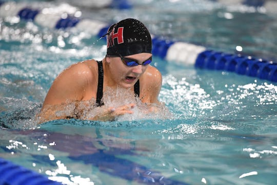 North 1, Group B championship for girls swimming: Northern Highlands vs. Wayne Valley at Passaic County Technical Institute on Friday, February 15, 2019. Kayla Kerrigan, of Northern Highlands, in the 200 Medley Relay.
