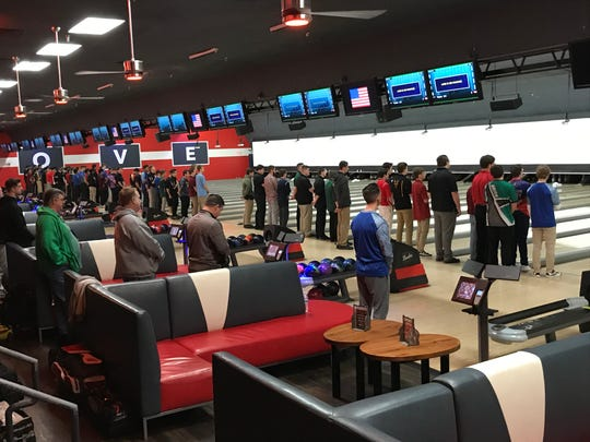 Boys competitors on the foul line for the national anthem at the NJSIAA individual bowling finals on Friday, Feb. 15, 2019 at Bowlero North Brunswick.