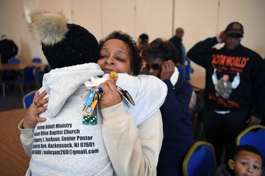 Carol Johnson gets a hug from Rev. Donna West during a rally & march against gun violence at the Logan Family Life Center at Mount Olive Baptist Church in Hackensack on Saturday, February 16, 2019. Johnson's son Dakota was shot and killed in Bogota on December 12, 2018.