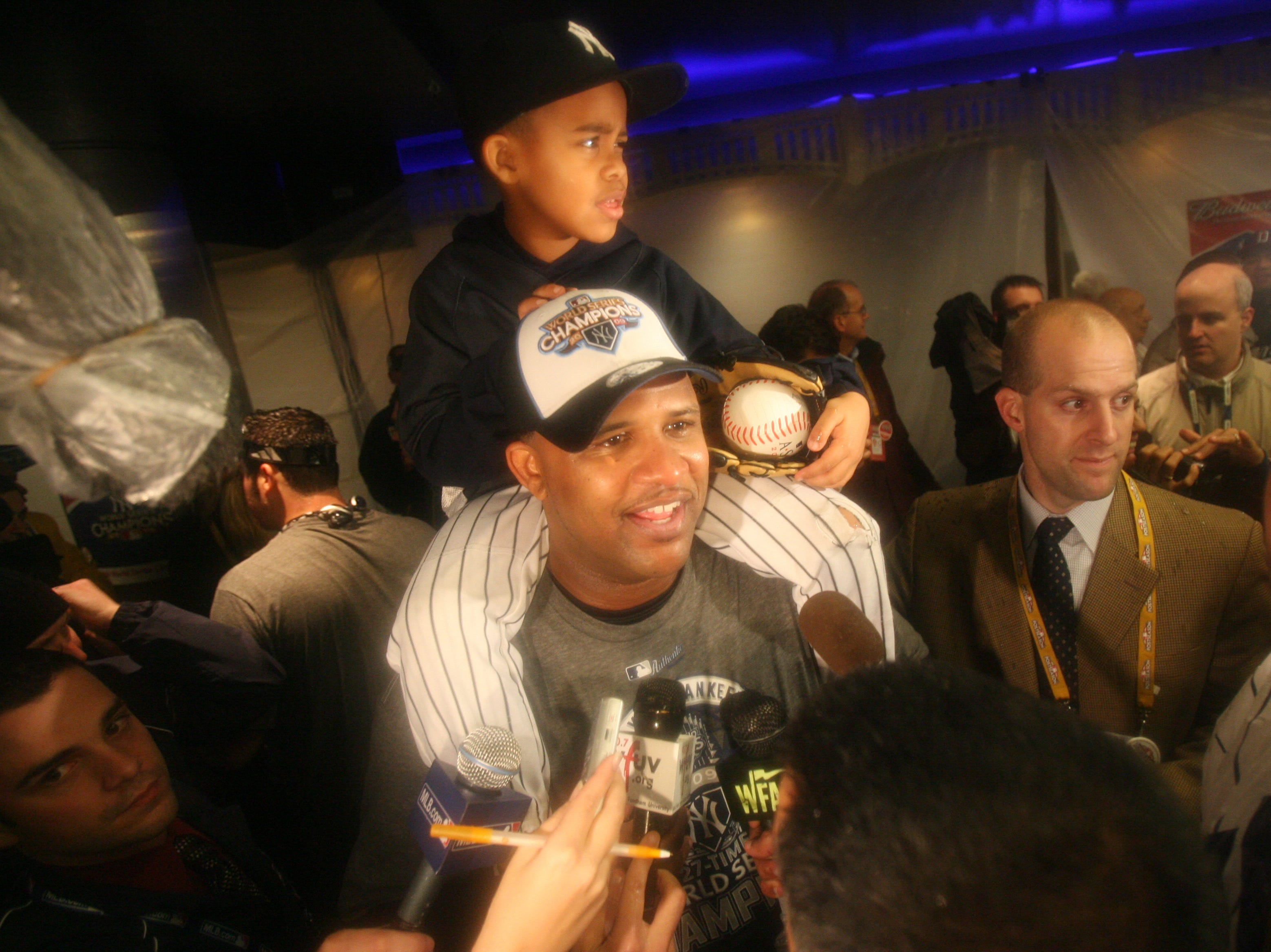 Philadelphia Phillies vs New York Yankees -- Game 6 -- The Yankees celebrate their World Series Championship. CC Sabathia in the locker room.