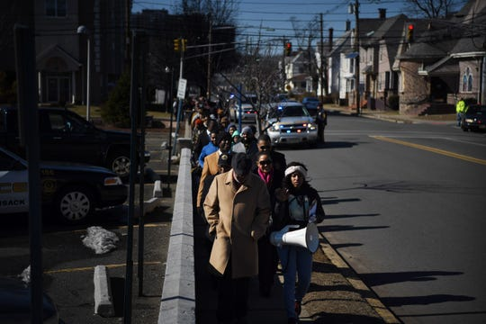 A march against gun violence on Central Avenue in Hackensack on Saturday, February 16, 2019. The march was inspired by the shooting death of Dakota Johnson that occurred in Bogota on December 12, 2018.