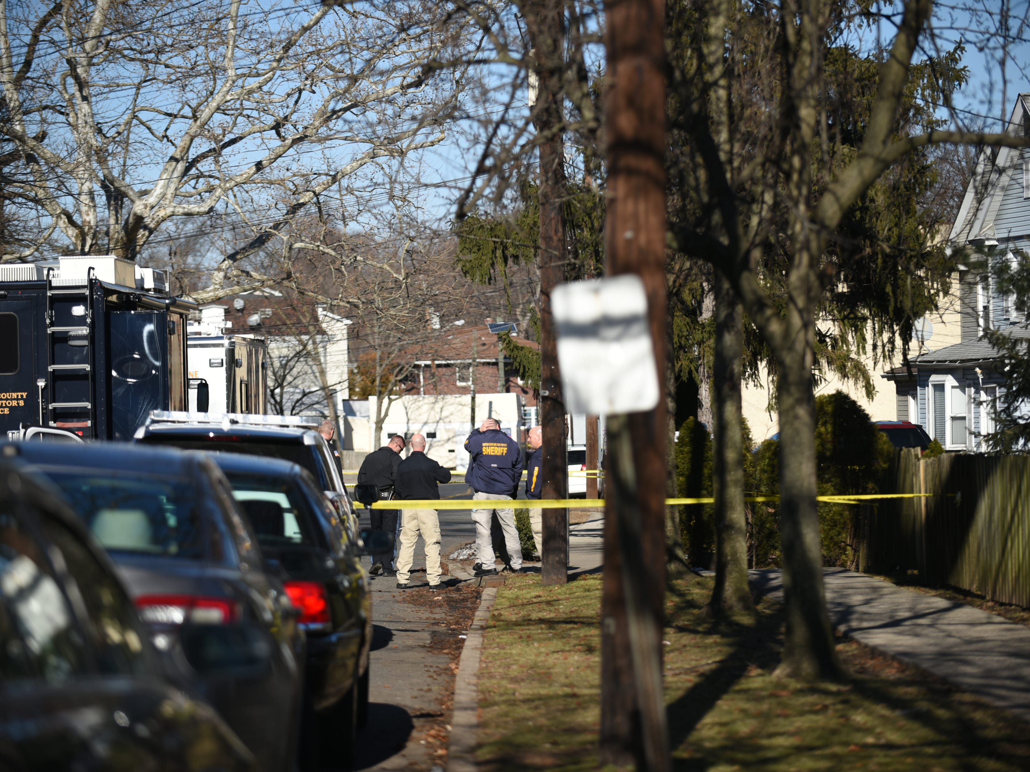 Police are at the scene of a double homicide on Lafayette Place Saturday, Feb. 16, 2019.