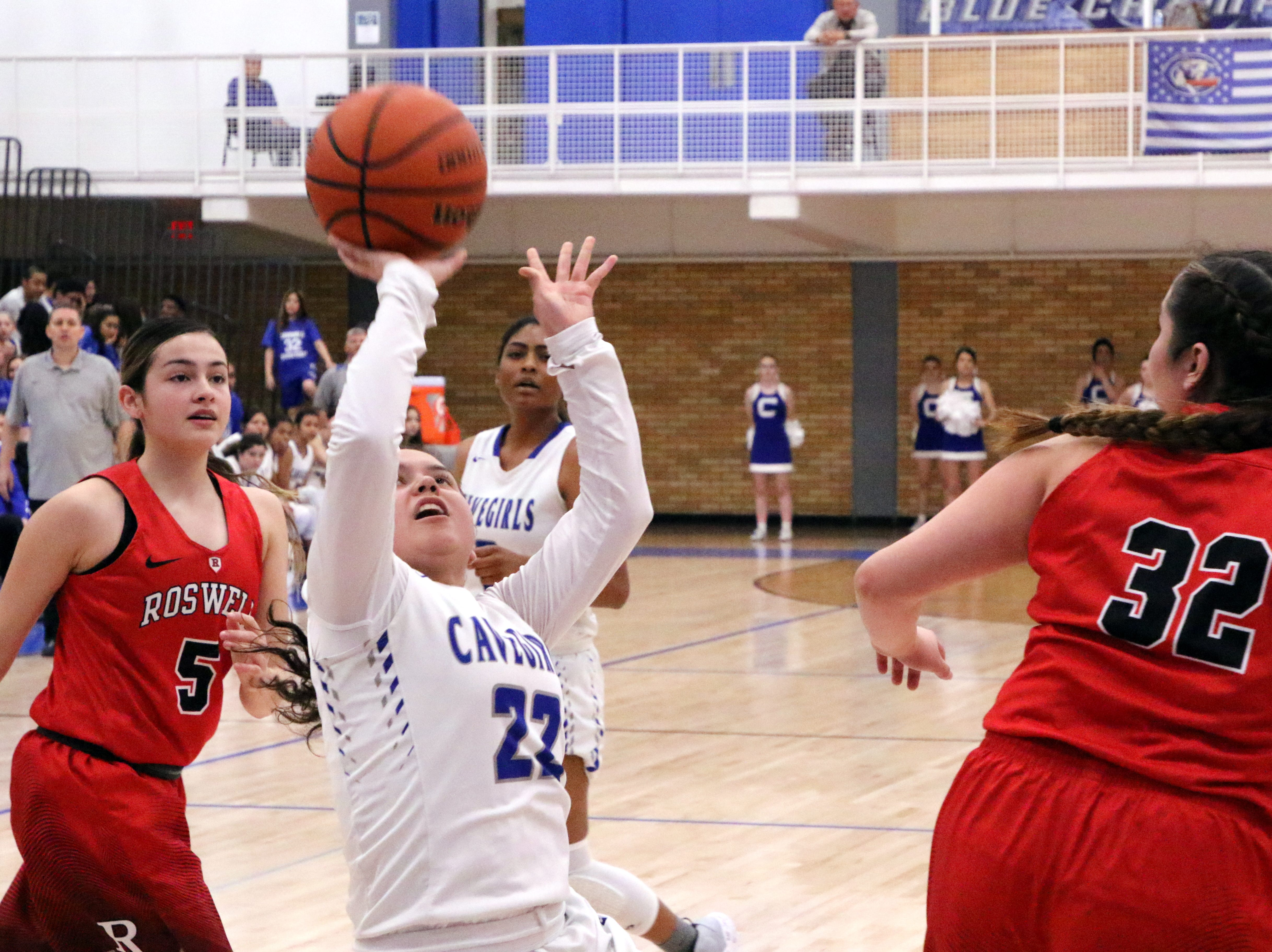 Nyah Chacon takes a contested shot during Friday's game.