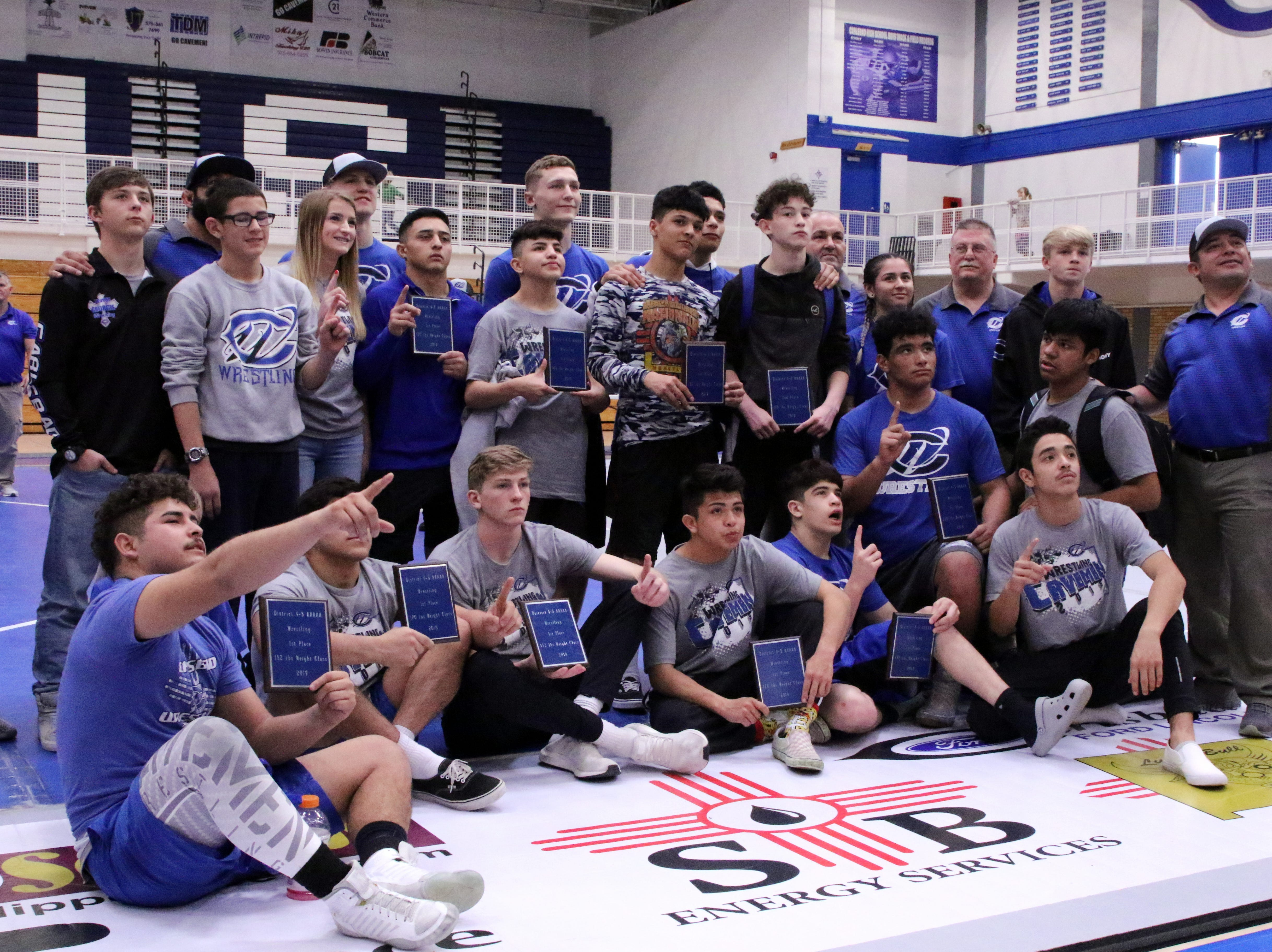 Carlsbad displays its hardware after Saturday's tournament.