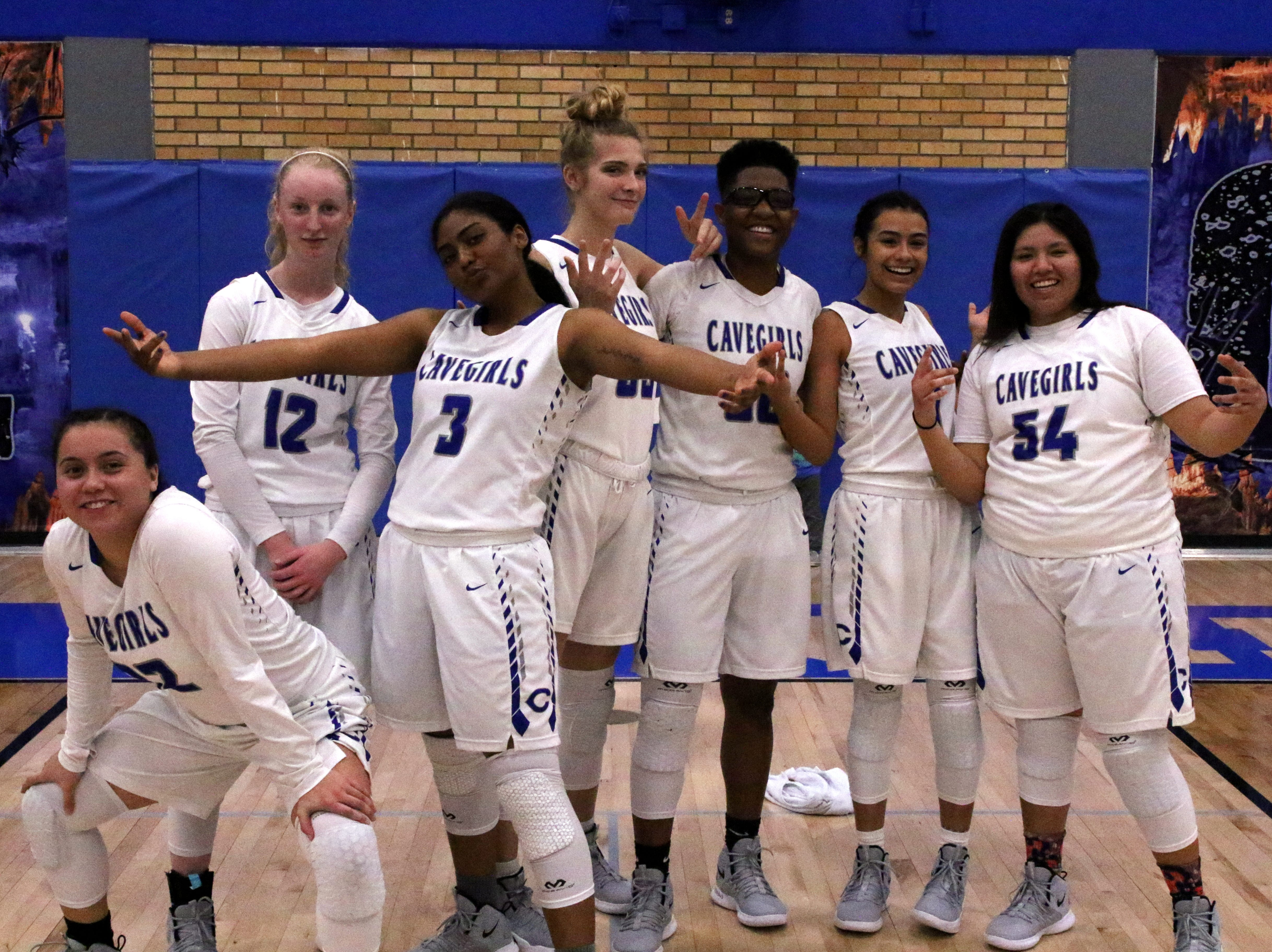 The Cavegirl seniors pose after Friday's game.