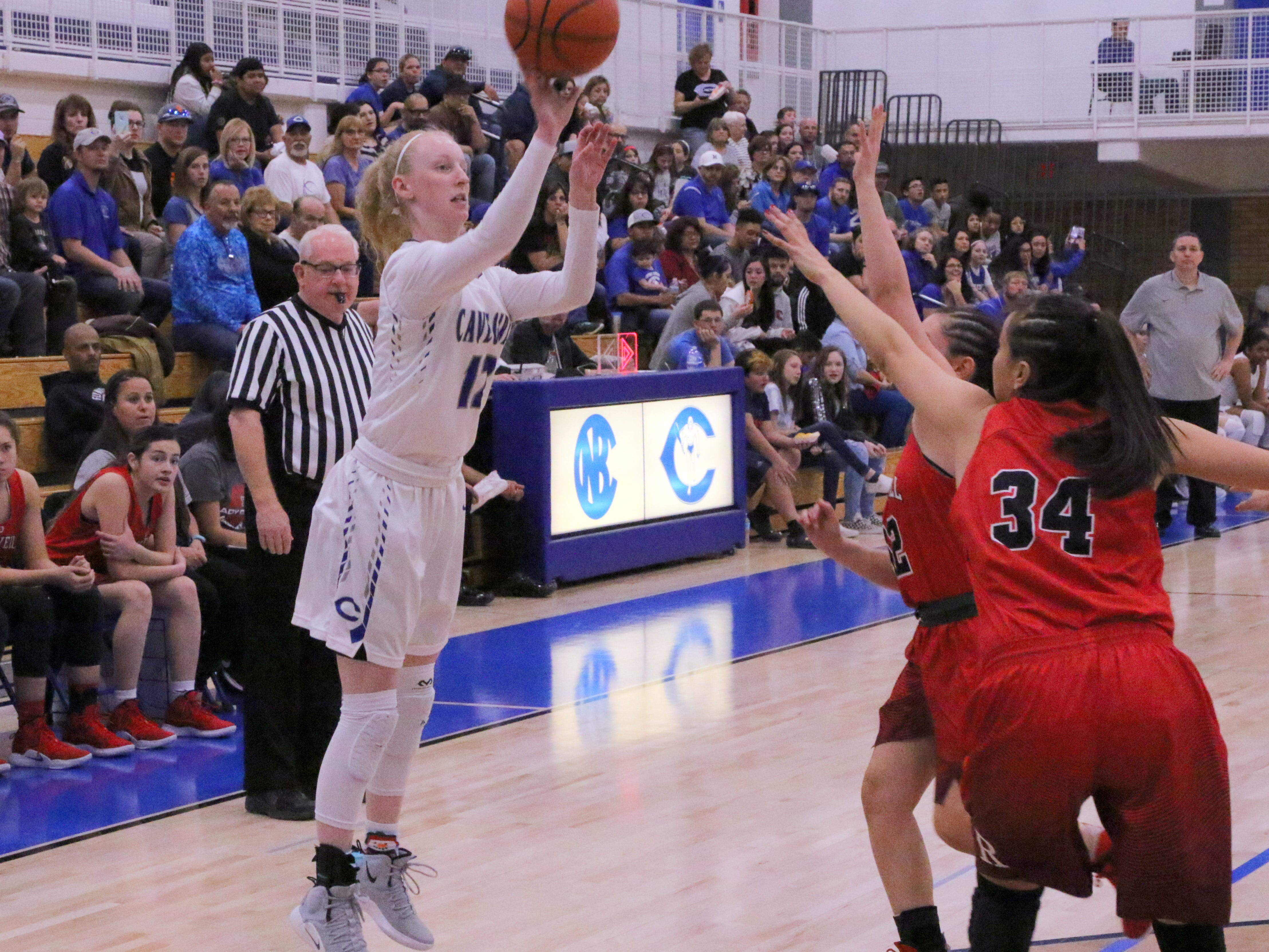 Carsyn Boswell shoots a 3-pointer during Friday's game.