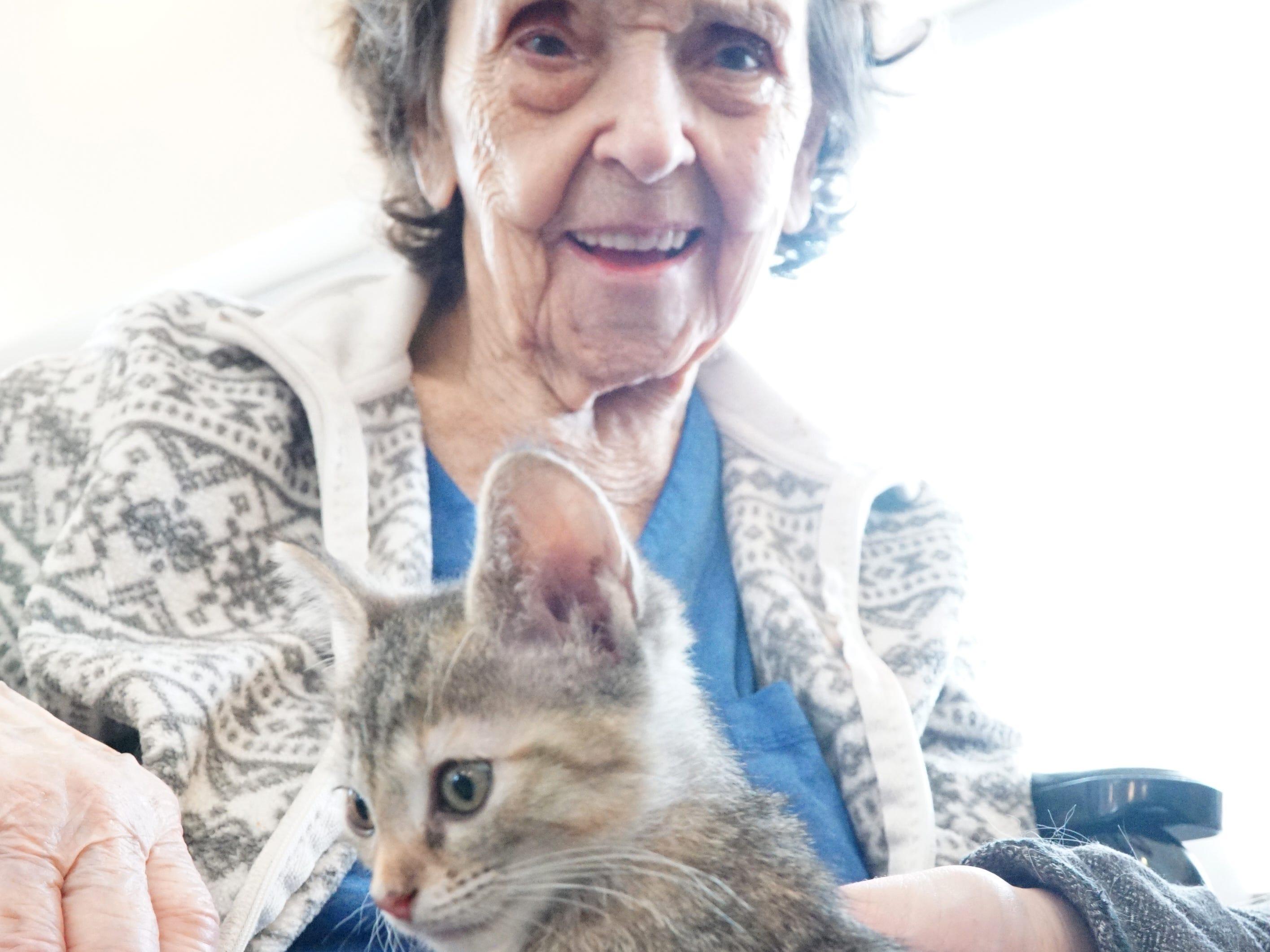 Dorothy Swan holds a kitten on Feb. 16.