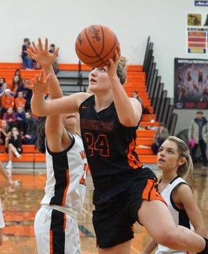 Sophie Dziekan had 13 points and six rebounds for Brighton in a 61-35 victory at Northville on Friday, Feb. 15, 2019.