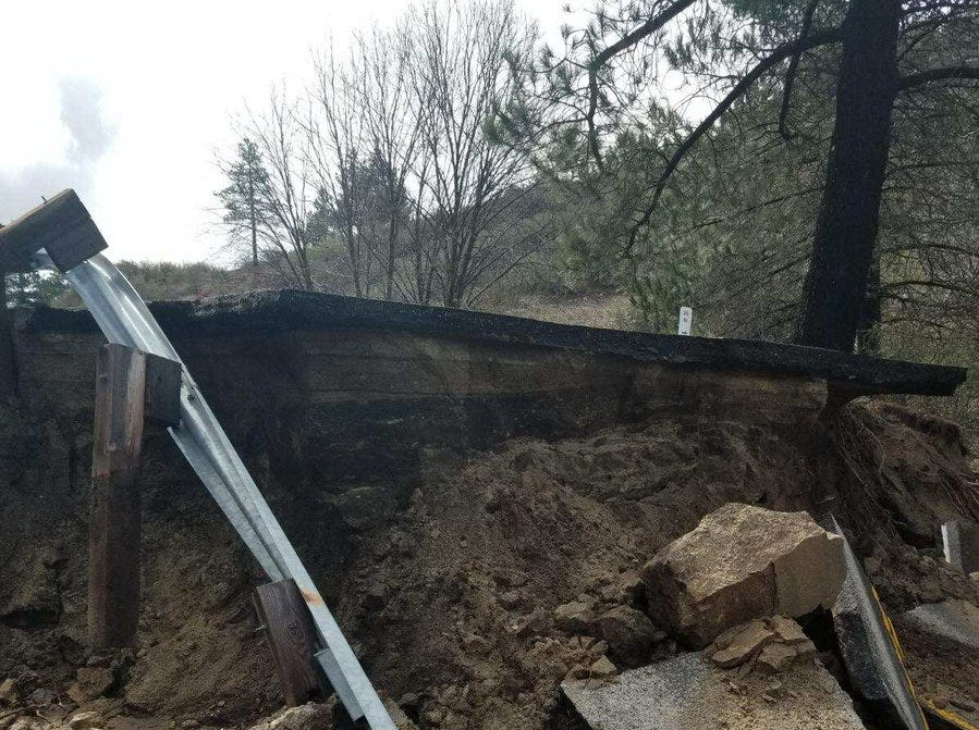 Highway 243 between Banning and Idyllwild was badly damaged during Thursday's storm.
