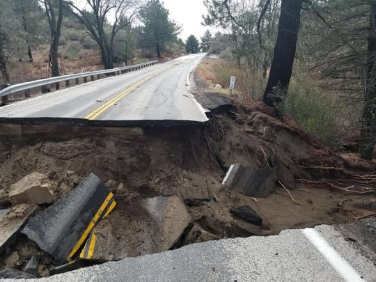 Highway 243 between Banning and Idyllwild was badly damaged during a Feb. 14 storm.
