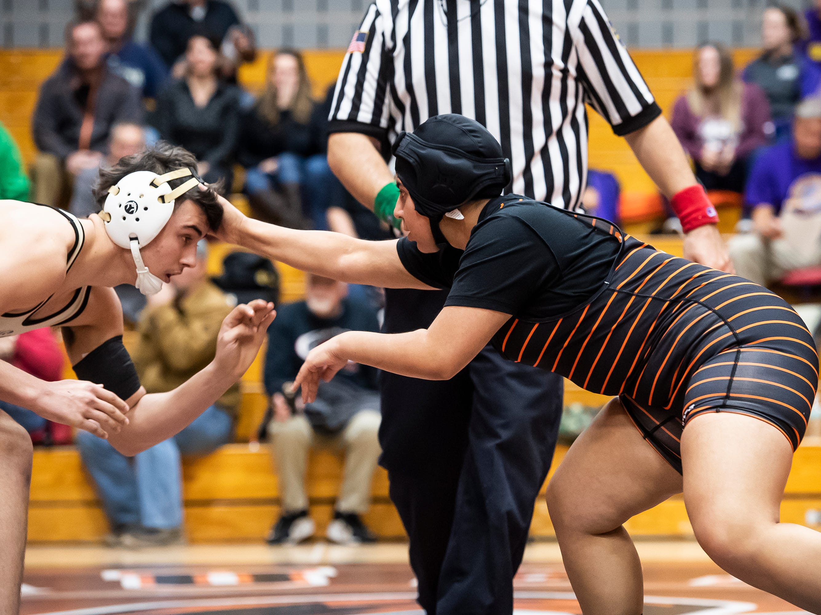 Hanover's Graciela Manjarrez wrestles Halifax's Dalton Marshall in a 170-pound bout during the first day of the District 3 Class 2A Section I tournament at Susquenita High School Friday, February 15, 2019. Marshall won by fall.