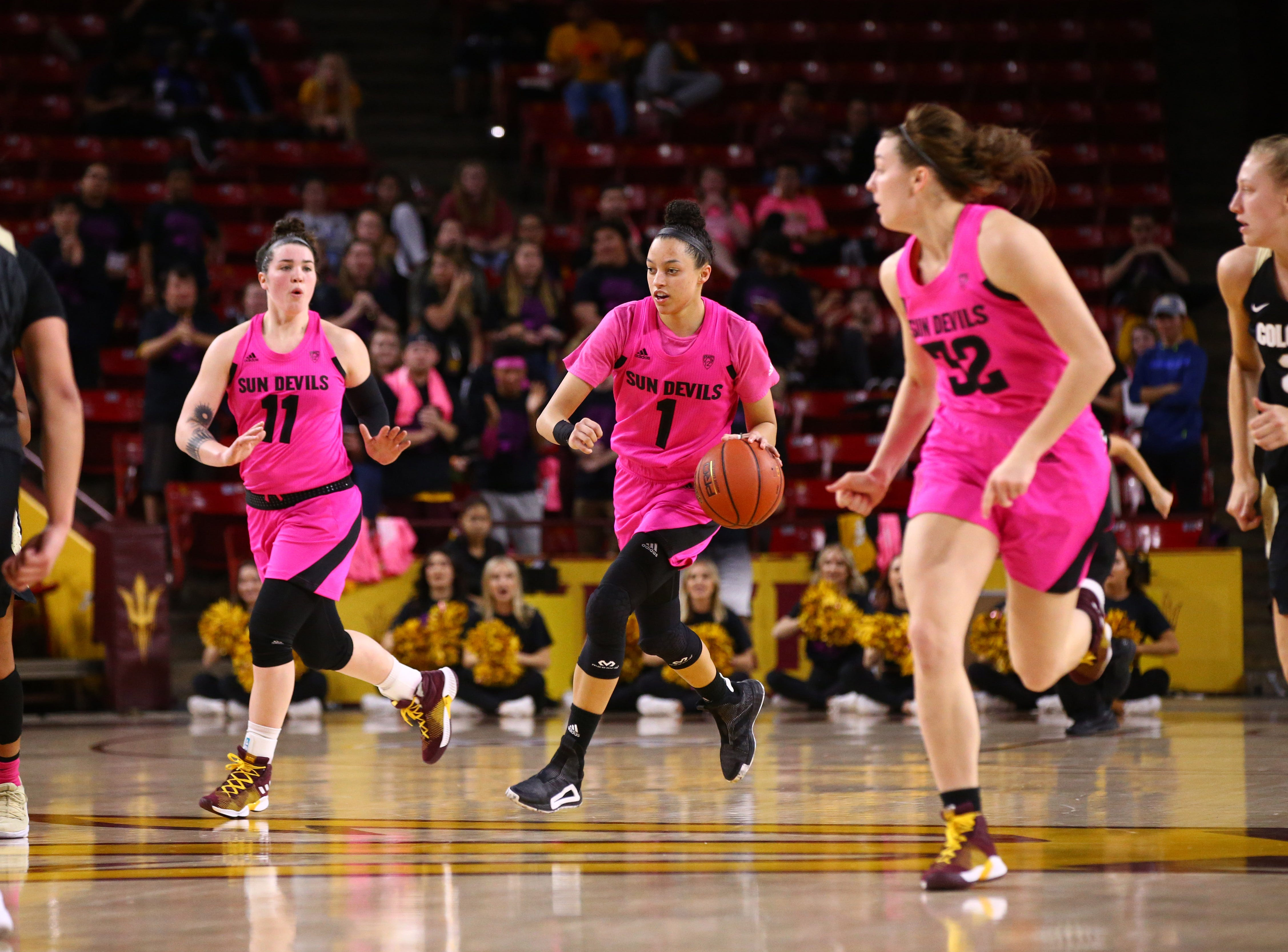 Arizona State Sun Devils guard Reili Richardson (1) brings-up the ball against the Colorado Buffaloes in the second half on Feb. 15 at Wells Fargo Arena in Tempe, Ariz.