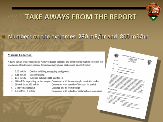 This is part of a 45-slide presentation from the safety manager at the Grand Canyon National Park that documented the radiation exposure and findings.