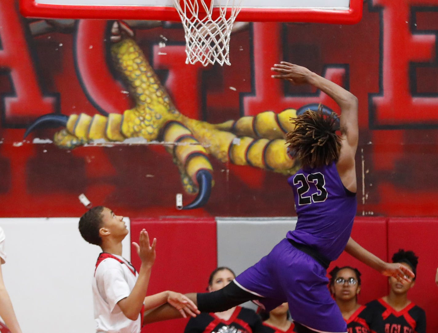 Millennium's DaRon Holmes (23) makes a layup against Ironwood during the first half of the 5A state quarterfinal game at Ironwood High School in Glendale, Ariz. on February 15, 2019.