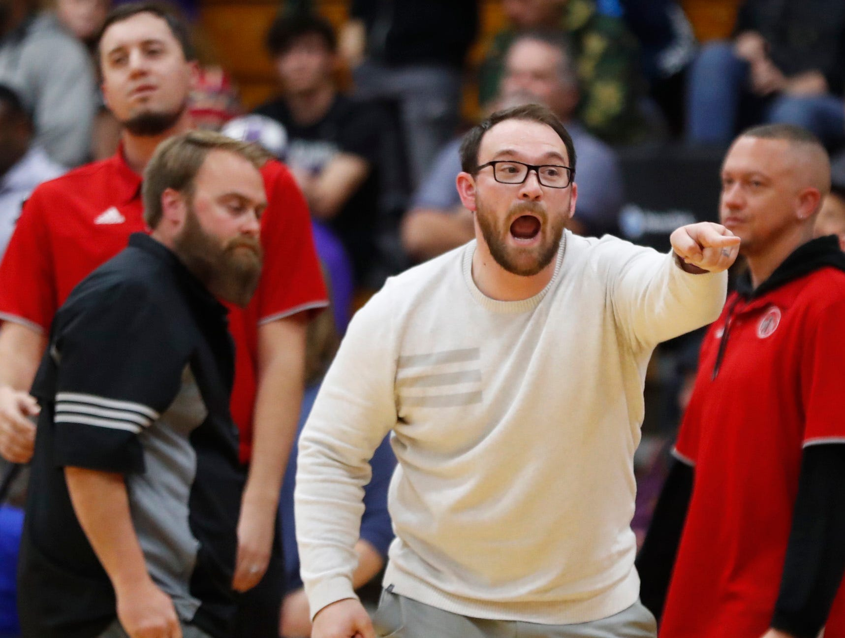 Ironwood's head coach Jordan Augustine yells at officials during the second half of the 5A state quarterfinal game against Millennium at Ironwood High School in Glendale, Ariz. on February 15, 2019.