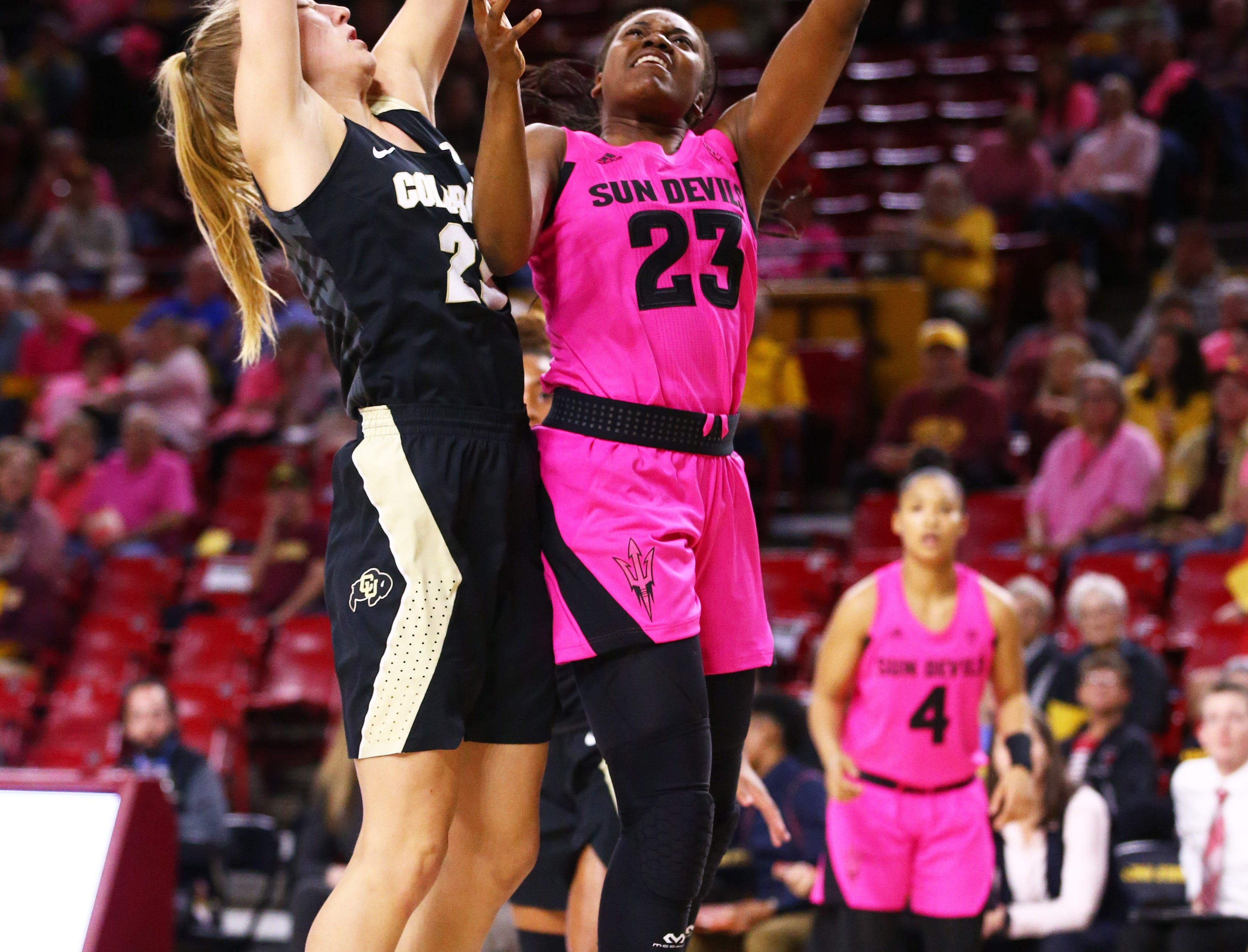 Arizona State Sun Devils guard Iris Mbulito (23) scores against the Colorado Buffaloes in the first half on Feb. 15 at Wells Fargo Arena in Tempe, Ariz.