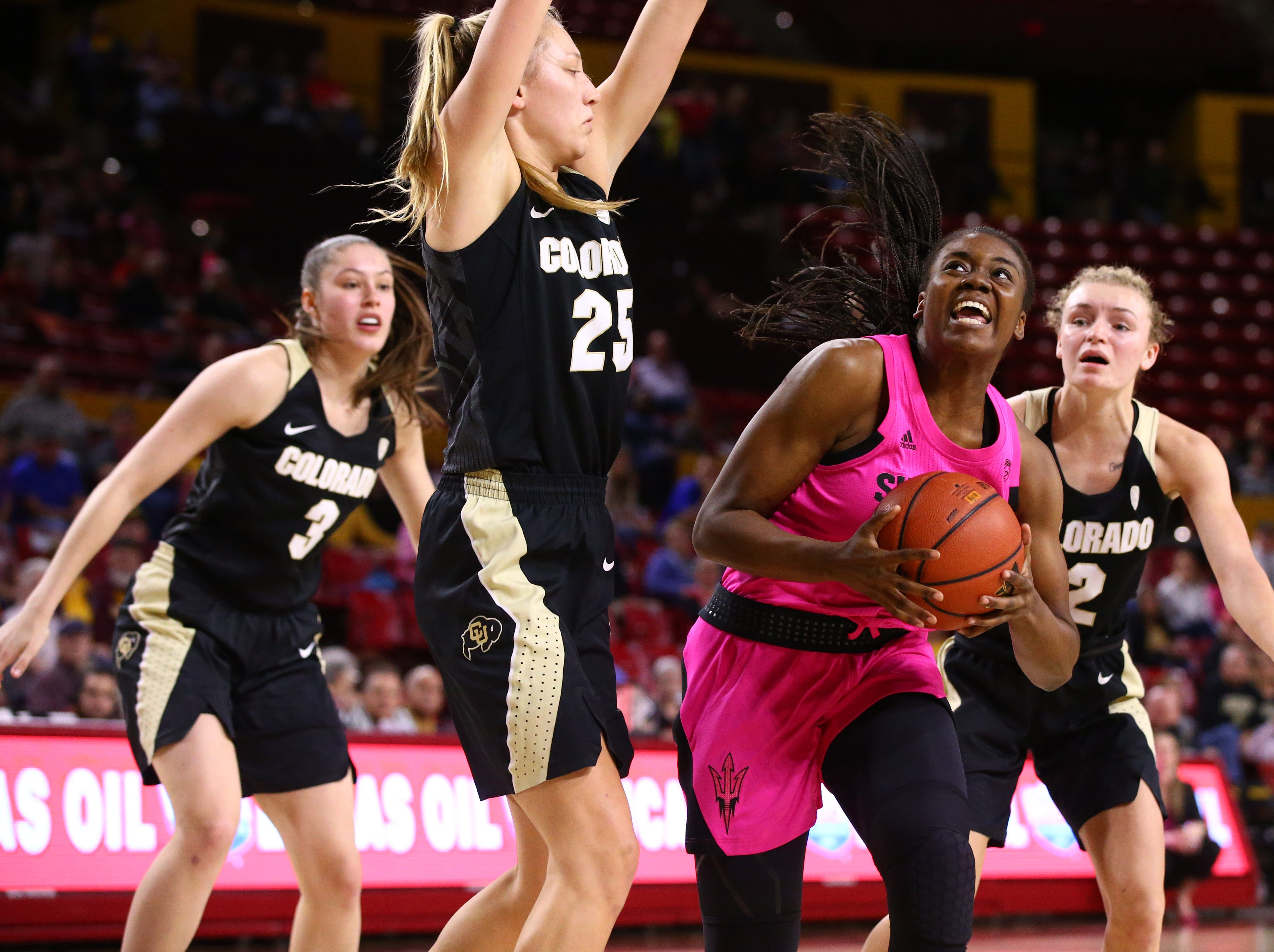 Arizona State Sun Devils guard Iris Mbulito (23) looks to the basket against the Colorado Buffaloes in the second half on Feb. 15 at Wells Fargo Arena in Tempe, Ariz.