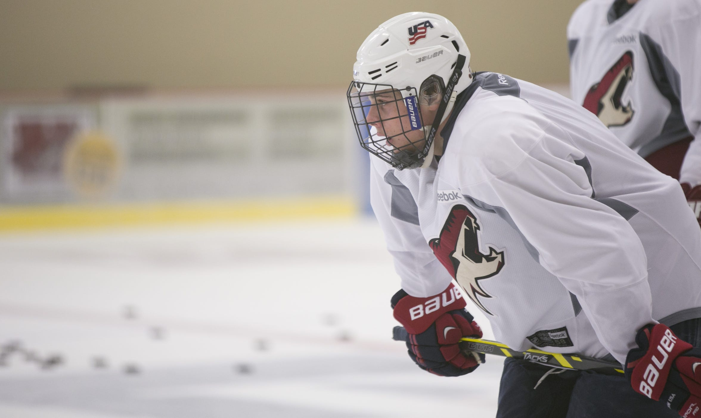Auston Matthews practices during an optional prospect workout at the Ice Den in Scottsdale in 2014.