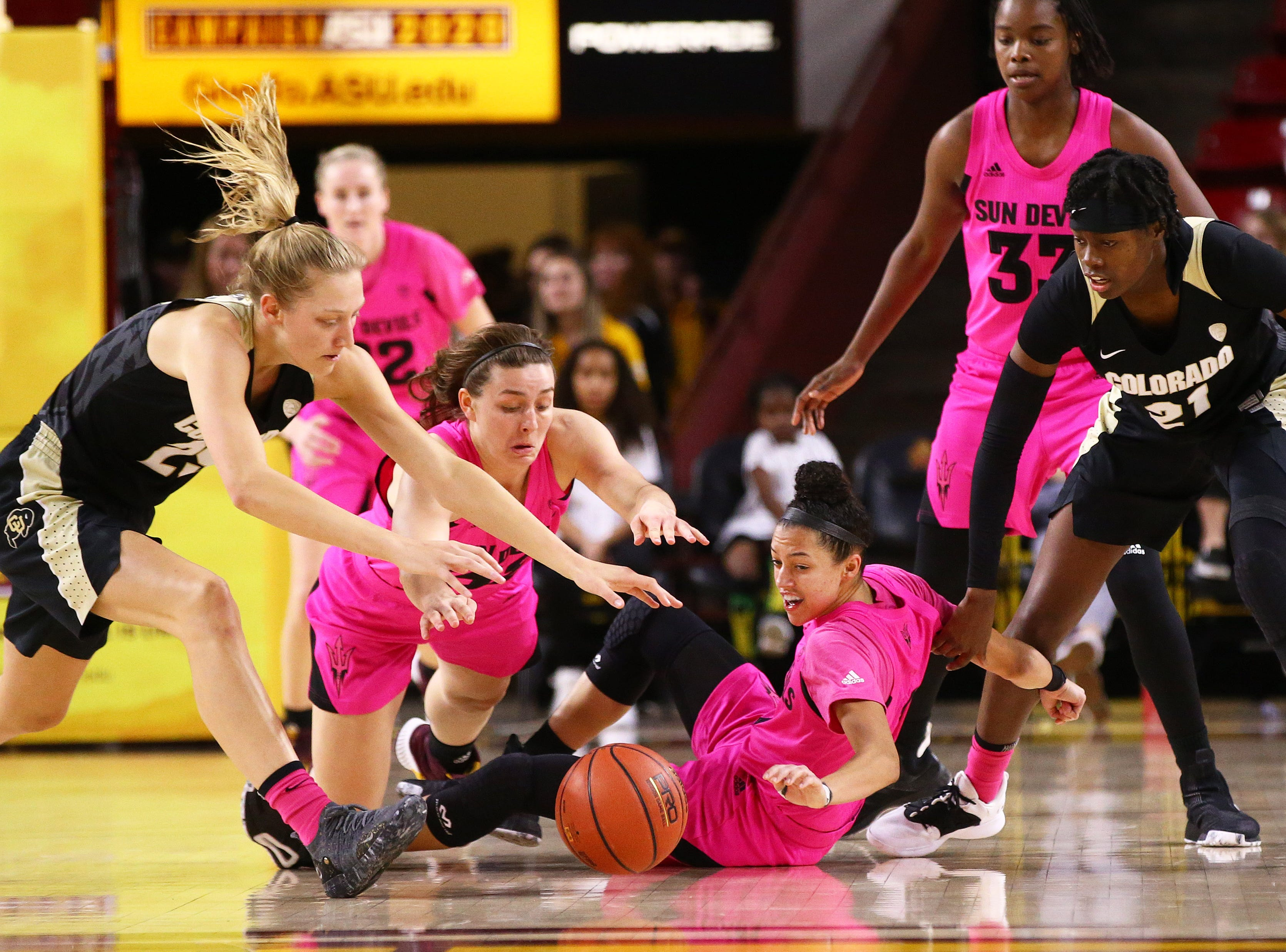 Arizona State Sun Devils against the Colorado Buffaloes in the second half on Feb. 15 at Wells Fargo Arena in Tempe, Ariz.
