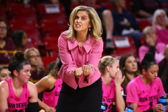 Arizona State Sun Devils head coach Charli Turner Thorne against the Colorado Buffaloes in the second half on Feb. 15 at Wells Fargo Arena in Tempe, Ariz.