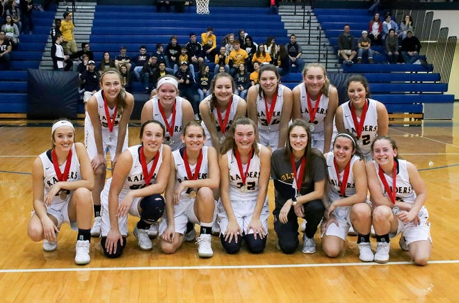 The Elco girls basketball team poses with its runner-up medals after Friday night's loss to Lancaster Catholic in the Lancaster-Lebanon League championship game.