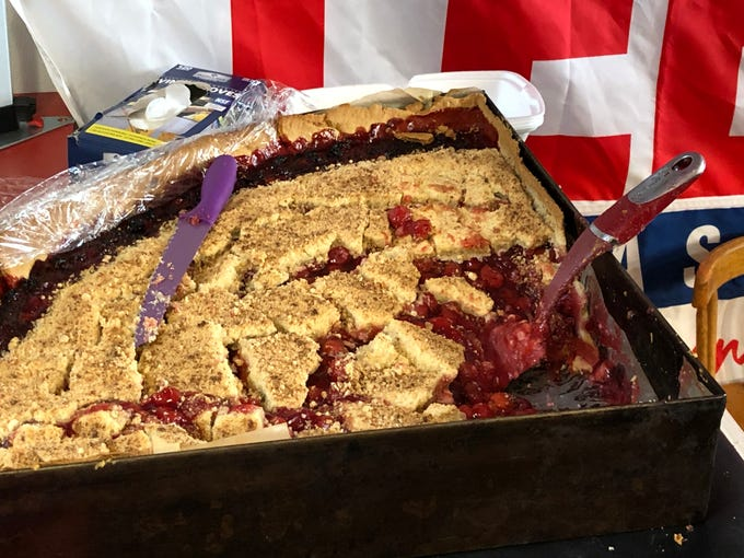 One of several huge vessels of cherry pie baked by Zig's Bakery inside the Lebanon Farmers Market for the Community of Lebanon Association's Cherry Pie Festival.