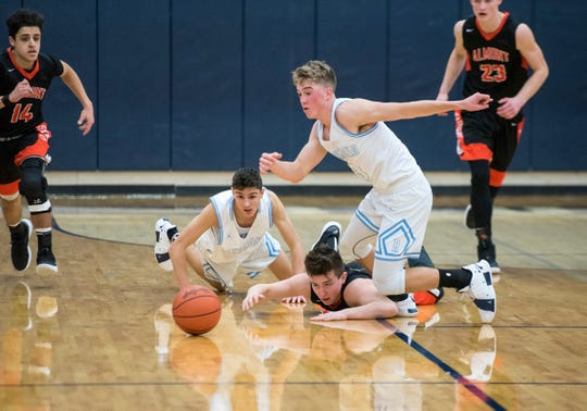 Richmond guard Jackson Allen (3) and Brandon Schorman (left) chase a loose ball during their basketball game Friday, Feb. 15, 2019 at Richmond High School.