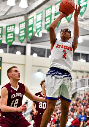 York High's Cameron Gallon, seen here in a file photo, had 17 points on Monday afternoon in a win over Frankford.