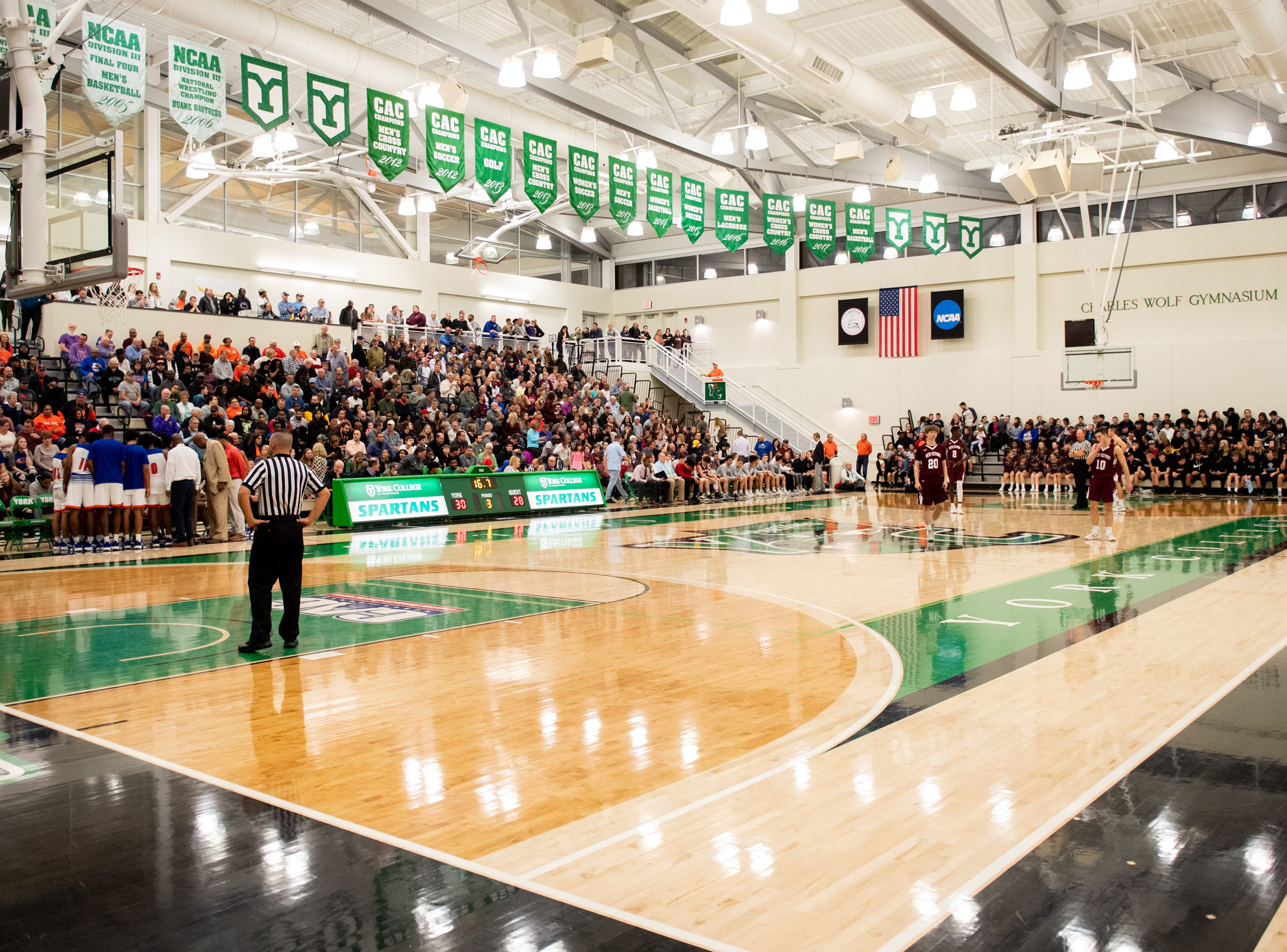 York College's Grumbacher Arena completely full during the YAIAA Division I title game between York High and New Oxford, Friday, February 15, 2019. The Bearcats defeated the Colonials 54 to 50.