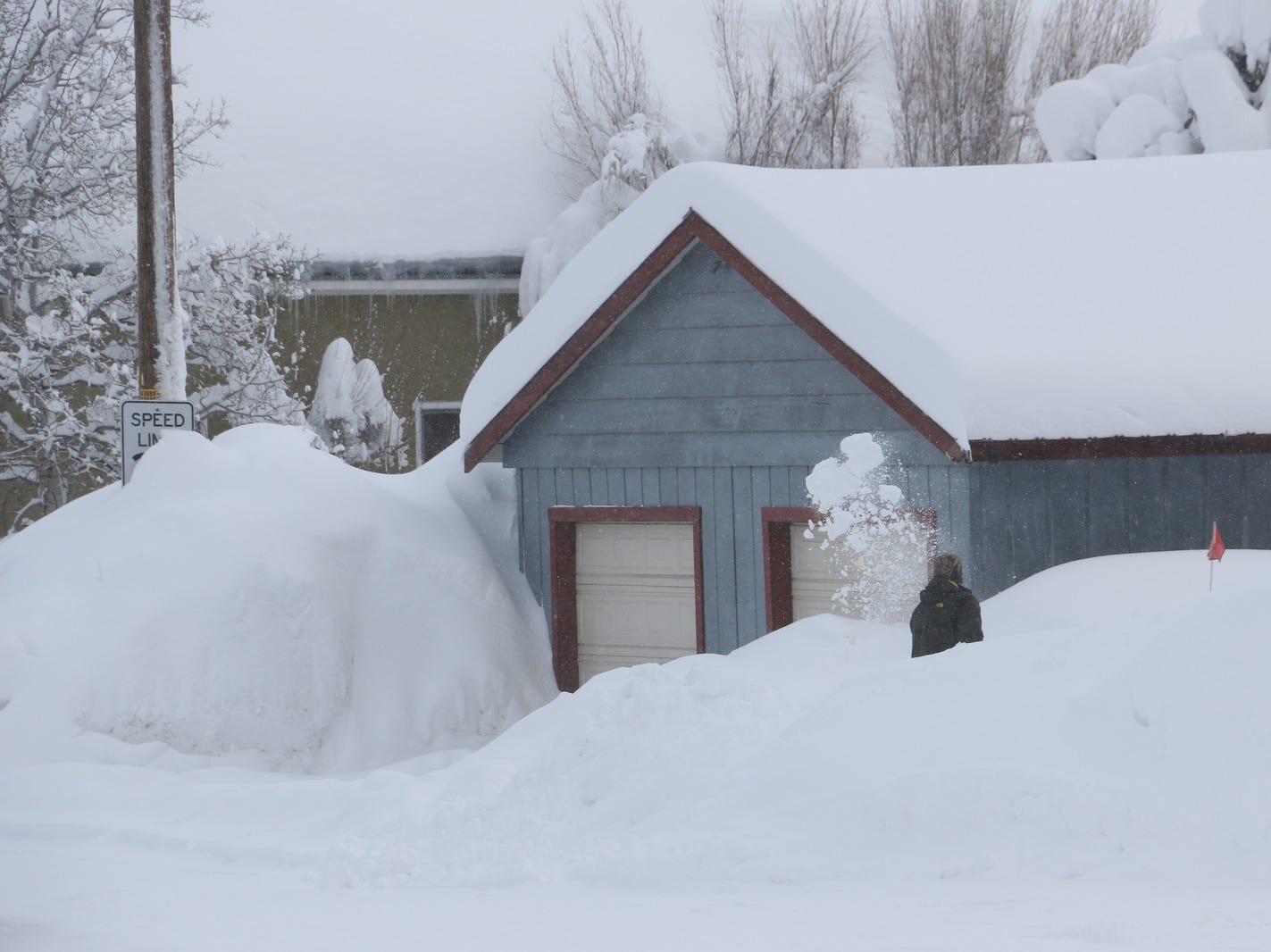 Snowy scenes are seen in Truckee, Calif. on Feb. 16, 2019.