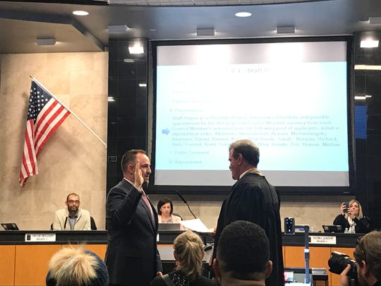 Reno lawyer Devon Reese is sworn in to the at-large seat on the Reno City Council.