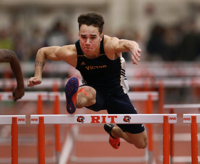Victor's Michael Bayley won the Class A 55 hurdles with a time of 7.49.