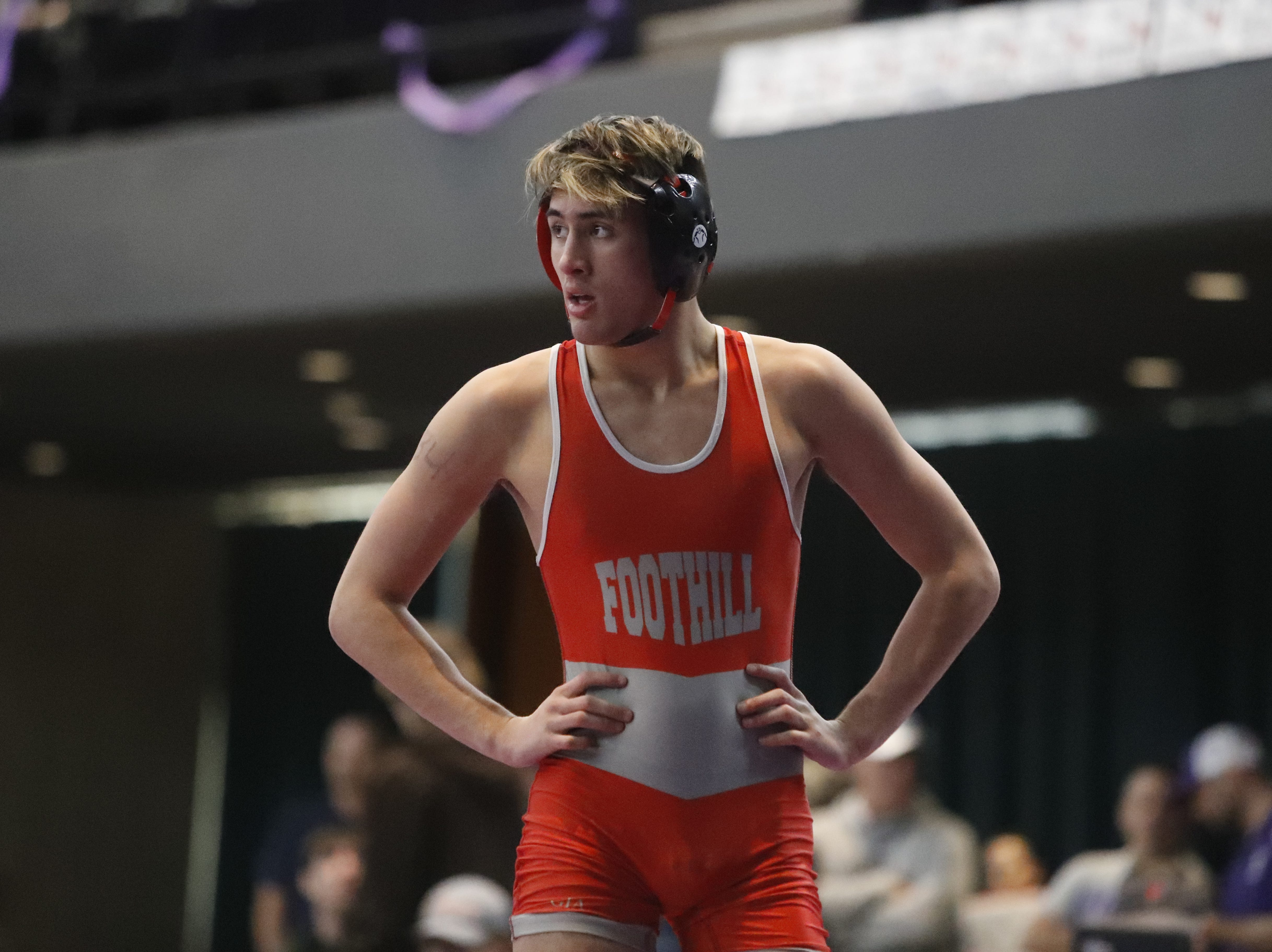 Foothill's Jacob Bergstrom walks around the mat between rounds during the 132-pound semifinals at the Northern Section championships on Friday, Feb. 15, at the Redding Civic Auditorium.